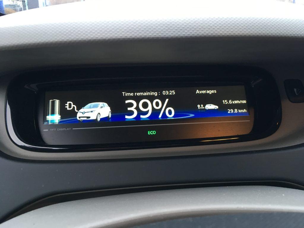 Ladebildschirm der Renault Zoe